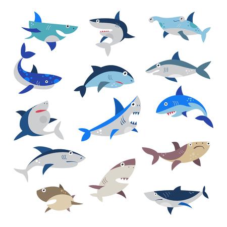 Tiburón vector de dibujos animados de peces de mar con dientes afilados en la mandíbula conjunto de ilustración de atacar el personaje de la pesca en el océano aislado sobre fondo blanco. Ilustración de vector