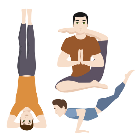 Yoga positions mans characters class meditation male concentration human peace lifestyle vector illustration. Illustration