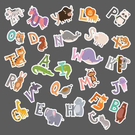 Cute zoo alphabet with cartoon animals funny letters wildlife learn typography font language vector illustration.