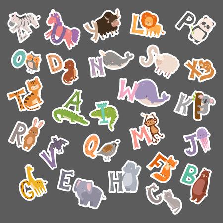 Schattig dierentuin alfabet met cartoon dieren grappige brieven dieren in het wild leren typografie lettertype taal vectorillustratie.
