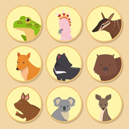 オーストラリアの野生動物漫画コアラやカンガルーフラットスタイルの哺乳類コレクションベクターイラストのような人気の自然のキャラクター。 写真素材 - 97554646