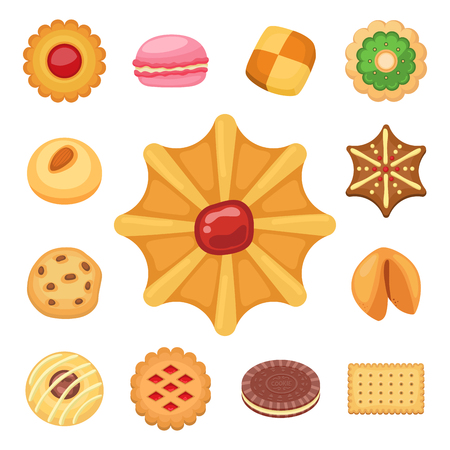 Different cookie cakes top view sweet food tasty snack biscuit sweet dessert vector illustration. Ilustração