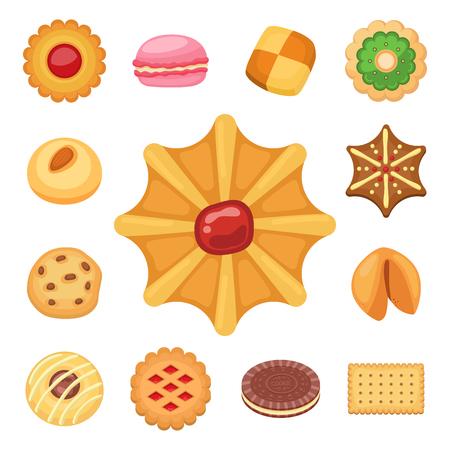 Different cookie cakes top view sweet food tasty snack biscuit sweet dessert vector illustration. Stock Vector - 97554648