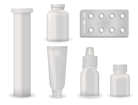 Bottle pack ,blank pharmaceutical blister of pills and capsules tube container for drugs clean plastic packaging for medication vector illustration.
