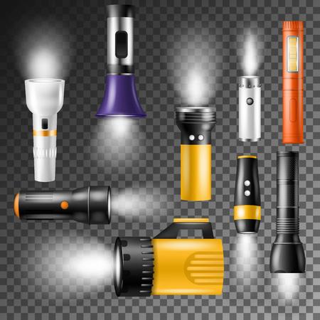 スポットライトまたはフラッシュイラストセット付き懐中電灯ベクトル照明  イラスト・ベクター素材
