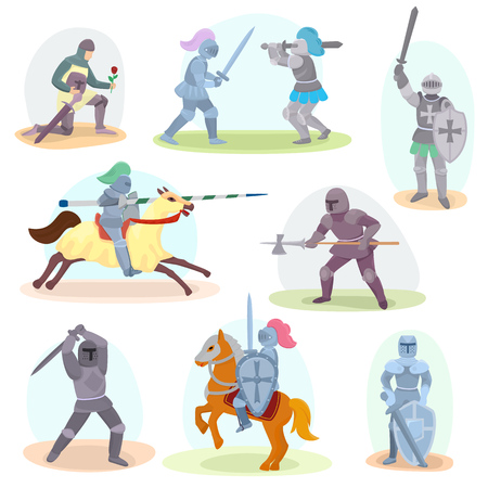 Knight medieval and knightly character with helmet armor and sword