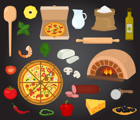 Pizza vector italian food with cheese and tomato in pizzeria or pizza house illustration set