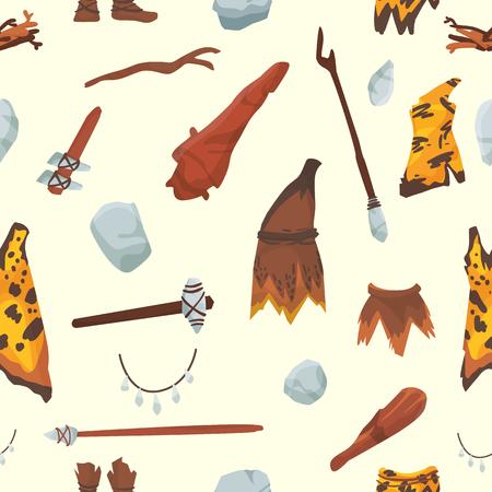 Las personas primitivas de la edad de piedra aborigen primigenias herramientas de caza histórica. Ilustración de símbolos de vida de casa y arma de hombre de las cavernas