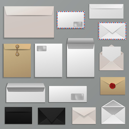 Blank envelope set in various designs  イラスト・ベクター素材