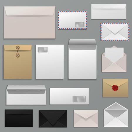 Blank envelope set in various designs Illustration