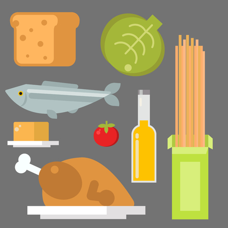 Everyday food , common organic products we get by shopping in supermarket vector illustration.