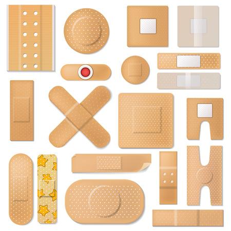 Bandaż wektor bandaż plastra i łatka ochrony medycznej do zestawu ilustracji pierwszej pomocy