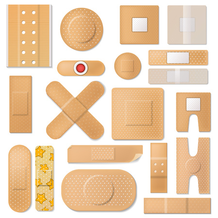 Bandage vector band plaster and medical protection patch for first aid illustration set
