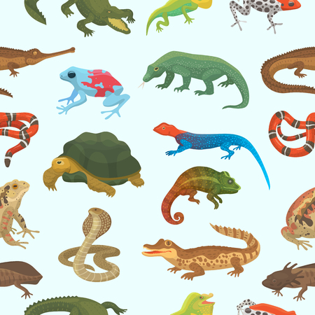 Vector reptile nature lizard animal wildlife wild chameleon, snake, turtle, crocodile illustration of reptilian background Vettoriali