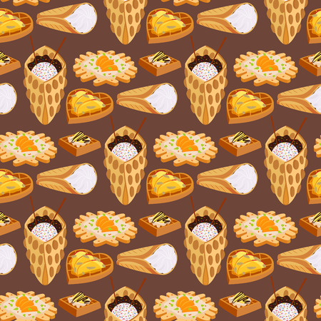 Wafer cookies or biscuits seamless pattern background