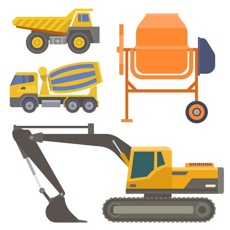 건설 배달 트럭 벡터 운송 차량 구조 및도 트럭 기계 장비 대형 플랫폼 산업 트럭 그림.