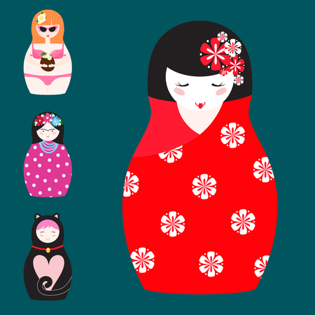 Matryoshka vector traditional russian nesting doll toy with handmade ornament figure pattern with child face and babushka woman souvenir illustration.