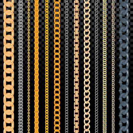 Cadena de vector patrón golden chainlet en línea o enlace metálico de joyería ilustración conjunto de cadena de cadena y collar aislado sobre fondo transparente