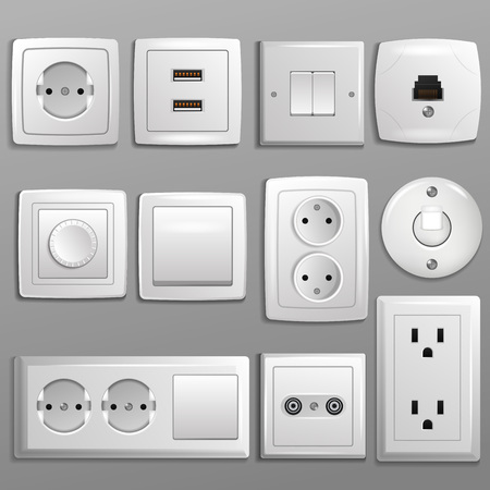 Socket and switch vector electrical outlet for electric plugs and electricity illustration set of different types of power sockets and switchers. Stok Fotoğraf - 97627052