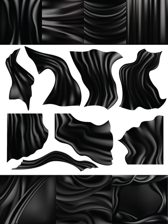 Silk vector black silky fabric and elegant dark satin material illustration set of drapery texture cloth flowing luxury isolated on white background