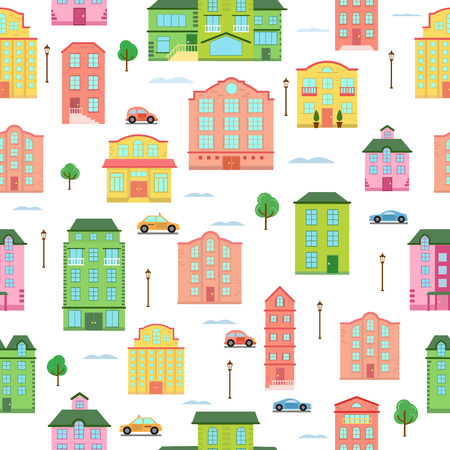 Modern urban vector city buildings and transport seamless pattern megapolice town background illustration Reklamní fotografie - 97643127