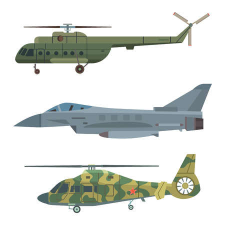 Military transport vector helicopter technic army war plane and industry armor defense transportation weapon illustration. Illustration