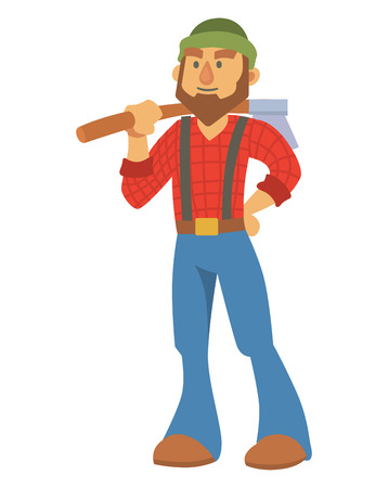 Woodcutter bearded lumberjack vector character with an ax in his hand logging equipment lumber industrial wood timber forest man illustration. 일러스트