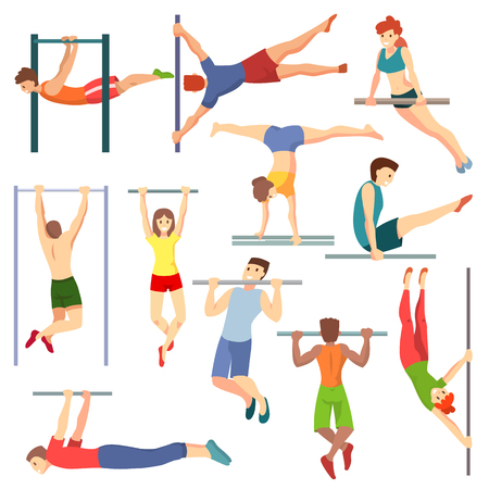 Athlete on horizontal bar vector illustration workout of athletic characters training on crossbar set of sportive people exercising with equipment isolated on white background Foto de archivo - 97758486