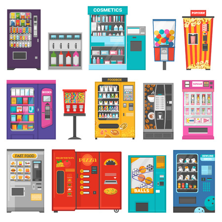 Vending machine vector vend food or beverages and vendor machinery technology to buy snack or drinks illustration set isolated on white background