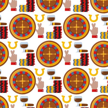Illustrazione senza cuciture di vettore del fondo del modello del gioco del poker dello slot machine del burlone del giocatore delle roulette del casinò. Vettoriali
