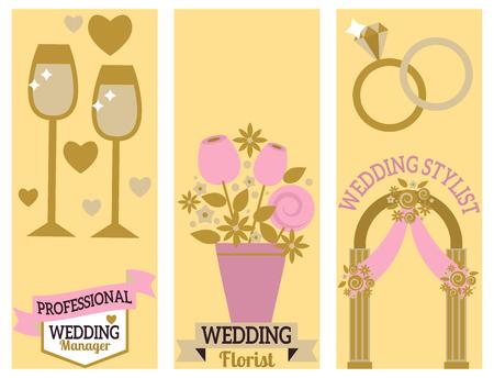 Wedding event manager agency brochure vintage template banner vector illustration.