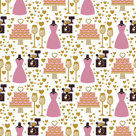 Wedding bride dress elegance accessories celebration bridal shower clothing seamless pattern background vector illustration.