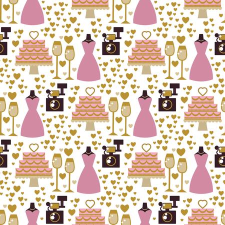 Wedding bride dress elegance accessories celebration bridal shower clothing seamless pattern background vector illustration.