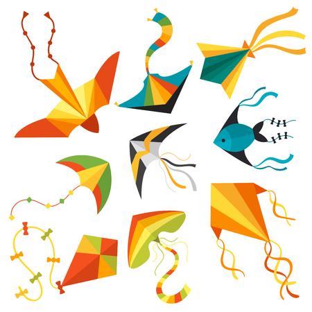 Flying kite image illustration Vectores