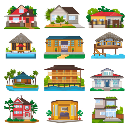 Villa vector facade of house building and tropical resort hotel on ocean beach in paradise illustration set of bungalow in village isolated on white background Vectores