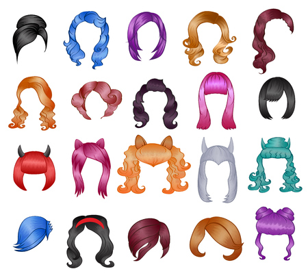 Woman hairstyle wigs vector halloween haircut and female fake hair style or bobwig illustration hairdressing or haircutting with coloration for carnival isolated on white background Vettoriali