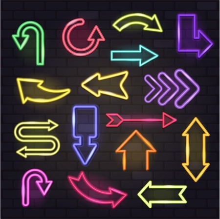 Neon arrow vector glowing arrows and illuminated arrowheads directions illustration set of cursed pointer design of different colors up down isolated on background 向量圖像