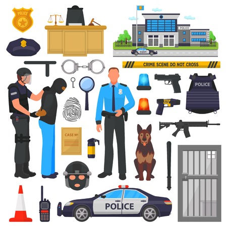 Police vector policeman character and policeofficer in bulletproof vest with handcuffs in police-office illustration set of or policy signs and police car isolated on background Illustration