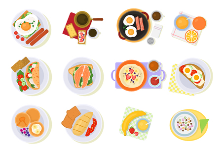 Breakfast illustration set of healthy food  isolated on white background. Ilustração