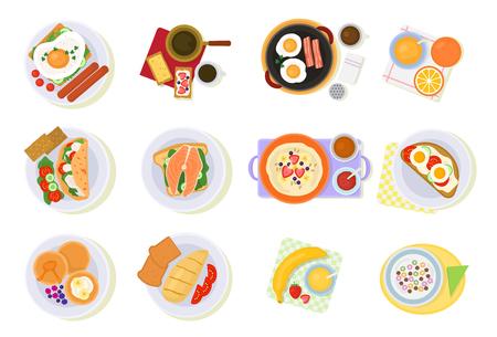Breakfast illustration set of healthy food  isolated on white background. Illustration