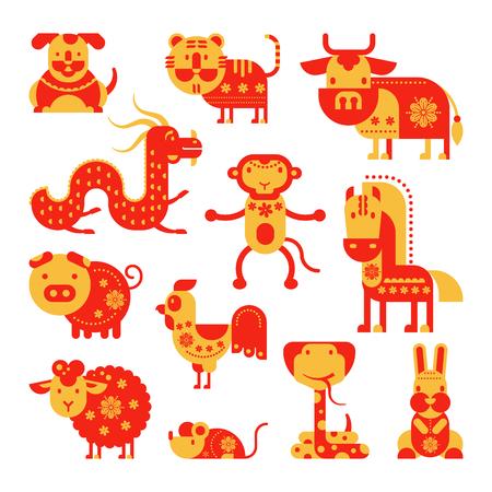 Animal symbol of astrological calendar isolated on white background. Illustration