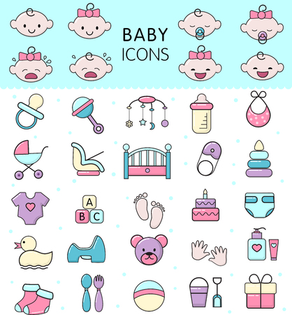 Baby icons vector kids toy for infant boys or girls in babyroom and childs bottle or stroller illustration set of children signs bed for newborn isolated on white background