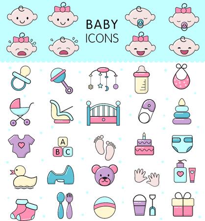 Icônes de bébé vecteur jouet pour enfants pour les garçons ou les filles en bas âge dans la chambre de bébé et la bouteille d'enfant ou la poussette illustration ensemble d'enfants signe lit pour nouveau-né isolé sur fond blanc