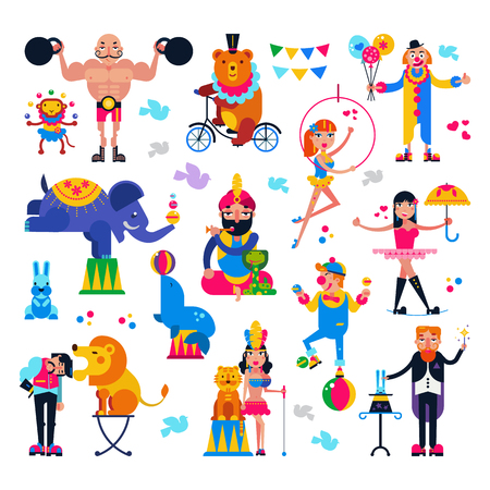 Circus people vector acrobat or clown and trained animals characters in circus-tent illustration set of magician and circus man with lion or elephant isolated on white background. Illustration
