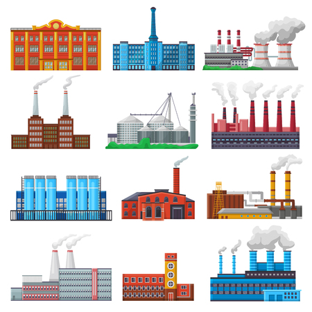 Set of manufacturing construction producing energy or electricity isolated on white background.