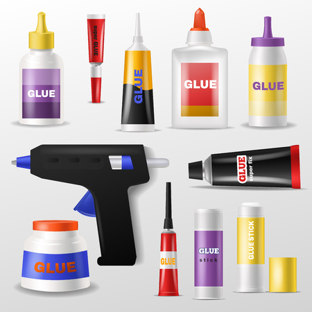 Set of adhesive things and tools in colored Illustration. Vectores