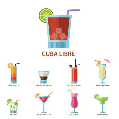 Ensemble de cocktails alcoolisés boissons naturelles boissons naturelles et poire arôme collection d & # 39 ; alcool douce frais de la tequila . vector illustration Banque d'images - 98438011