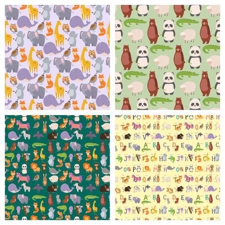 Animals cartoon wildlife nature seamless pattern background. Illustration