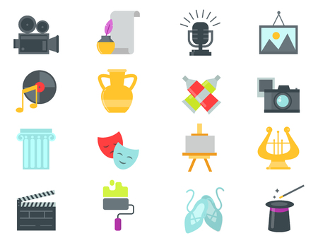 Set of art icons in flat design atist ink graphic color creativity movie collection vector illustration.