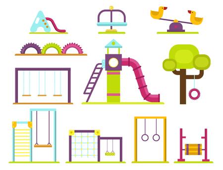 Children playground kindergarten amusement childhood play park activity place recreation swing equipment toy vector illustration 스톡 콘텐츠 - 98663444